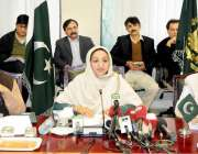اسلام آباد: وزیر مملکت صحت سائرہ افضل تارڑ انفلوئنزا کے معاملے پر میڈیا ..