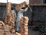 راولپنڈی: نواحی علاقے میں زیر تعمیر عمارت کے لیے مزدور اینٹیں لیجا ..
