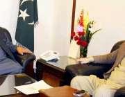 اسلام آباد: وزیر اعظم آزاد کشمیر چوہدری عبدالمجید سے وزیر برقیات فیصل ..