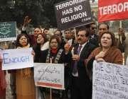لاہور: رواداری تحریک کے زیر اہتمام دہشت گردی کے خلاف مظاہرہ کیا جا رہا ..