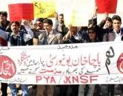 مظفر آباد: جموں و کشمیر این ایس ایف کے کارکنان باچا خان یونیورسٹی پر ..