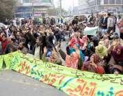 لاہور: پنجاب ٹیچرز یونین کے زیر اہتمام اساتذہ نے اپنے مطالبات کے حق ..
