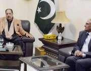 مظفر آباد: وزیر اعظم آزاد کشمیر چوہدری عبدالمجید سے وزیر خزانہ چوہدری ..