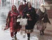 لاہور: خواتین ا رکن اسمبلی بارش کے دوران پنجاب اسمبلی کے اجلاس میں شرکت ..