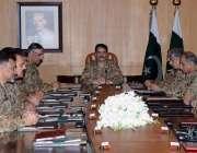 راولپنڈی: جنرل راحیل شریف ، کور کمانڈرز کے اجلاس کی صدارت کر رہے ہیں۔