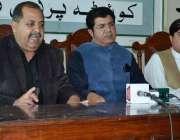 کوئٹہ: پاکستان تحریک انصاف کے رہنما ء میر اسماعیل لہڑی، سردار خادم ..