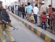 "لاہور: یوم پاکستان کے موقع پر ""عزم پاکستان پریڈ"" کے موقع پر پولیس اہلکار .."