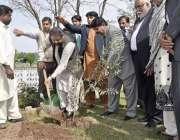 راولپنڈی: وفاقی وزیر سکندر حیات بوسن زرعی یونیورسٹی میں پودا لگا رہے ..