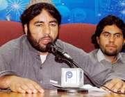 پشاور: باڑہ خیبر ایجنسی کے متاثرین ساجد اللہ مشترقہ پریس کانفرنس سے ..
