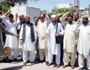 پشاور: آل فاٹا ٹیچرز ایسوسی ایشن فاٹا کے زیر اہتمام مظاہرین اپنے مطالبات ..