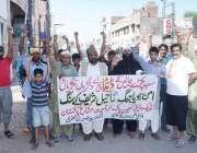 لاہور: پریس کلب کے باہر جمعیت مسائخ پاکستان ، تحریک بازیابی نعلین پاک ..