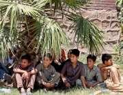 راولپنڈی: کھیل کود میں نکلے بچے گرمی کی شدت میں اضافے کے باعث ایک درخت ..