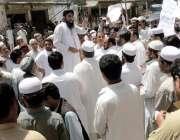 ہنگو: ناظمین مطالبات کے حق میں احتجاجی مظاہرہ کر رہے ہیں۔