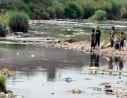 راولپنڈی: گرمی کی شدت کو کم کرنے کے لیے بچے نالہ لئی میں نہا رہے ہیں۔