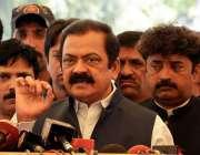 لاہور: صوبائی وزیر قانون راناء ثناء اللہ پنجاب اسمبلی کے باہر میڈیا ..