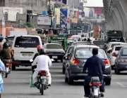 راولپنڈی: مری روڈ پر ٹریفک جام کا منظر۔