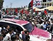 راولپنڈی: چیئرمین پیپلز پارٹی بلاول بھٹو زرداری کی ٹی چوک آمد کے موقع ..