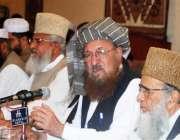 اسلام آباد: جمعیت علماء اسلام کے رہنما سمیع الحق پریس کانفرنس سے خطاب ..