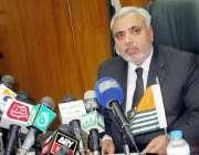 مظفر آباد: چیف الیکشن کمشنر جسٹس غلام مصطفی مغل پریس کانفرنس کے دوران ..