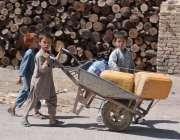 کوئٹہ: غوث آباد کے قریب معصوم افغان بچے پانی بھرنے کے لیے پانی کی تلاش ..