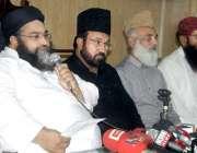 لاہور: پاکستان علماء کونسل کے مرکزی چیئرمین حافظ طاہر محمود اشرفی دیگر ..