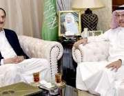 اسلام آباد: قائد ایوان سینیٹر راجہ ظفرالحق سے سعودی سفیر عبداللہ مرزوک ..