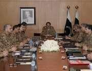 راولپنڈی: آرمی چیف جنرل راہیل شریف کور کمانڈر کانفرنس کے اجلاس کی صدارت ..