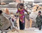 راولپنڈی: خانہ بدوش بچے گھر کاچولہا جلانے کے لیے خشک لکڑیاں جمع رہے ..