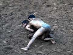 RAWALPINDI: Traditional Wrestlers are busy in practice near Liaqat Bagh.