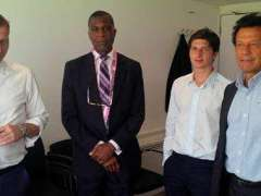LONDON: Imran Khan and Suleman Khan with Michael Holding and Michael Atherton at Lords Cricket Ground.