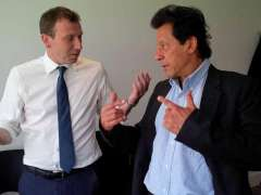 LONDON: Imran Khand and Michael Atherton at Lords Cricket Ground.
