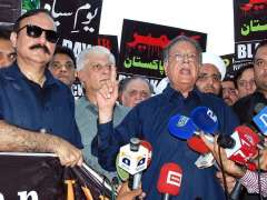 ISLAMABAD: Federal Minister for Information, Broadcasting and National Heritage Senator Pervaiz Rashid addressing to a rally to mark the Black Day to express solidarity with the people of Indian Held Kashmir.
