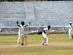 LARKANA: A view of cricket match between Larkana and Jacobabad districts teams during Regional Inter District Senior Three Day Cricket Tournament 2016-17 at PCB Ground Shaikh Zaid Colony.