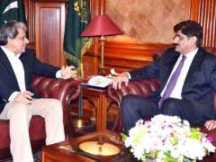 KARACHI: Governor Sindh Dr Ishratul Ebad Khan meeting with Sindh Provincial Minister for Finance Murad Ali Shah at Governor House.