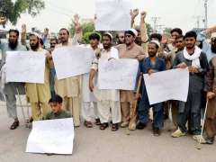 PESHAWAR: Disable persons from FATA are demonstrating protest in favour of their demands.