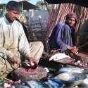 کراچی: مچھلی فروش سڑک کنارے مچھلی کا سٹال لگائے بیٹھے ہیں۔
