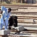لاڑکانہ: ریلوے اسٹیشن کے قریب ریلوے ٹریک کی مرمت کا کام کیا جا رہا ہے۔
