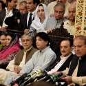 اسلام آباد: سابق وزیراعظم نواز شریف پنجاب ہاؤس میں پریس کانفرنس سے ..