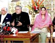 اسلام آباد: وفاقی وزیر داخلہ سینیٹر اسحاق ڈار پریس کانفرنس سے خطاب ..