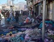 کوئٹہ: کٹ پیس مارکیٹ میں آتشزدگی سے متاثر ہونیوالے جلے ہوئے کپڑے دکانوں ..