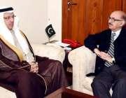 اسلام آباد: وزیر اعظم کے معاون خصوصی عرفان صدیقی سے سعودی سفیر مرزوق ..