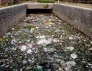 لاہور: باغ جناح کے اندر سے گزرنے والا نالہ گندگی سے بھرا ہوا ہے۔