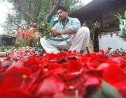 اسلام آباد: ایک نوجوان پھولوں کے گلدستے فروخت کر رہا ہے۔