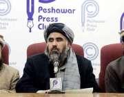 پشاور: جے یو آئی فاٹا کے امیر عبدالشکور بٹنی پریس کانفرنس کر رہے ہیں۔