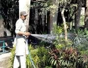 لاہور: چڑیا گھر میں مالی پودوں کو پانی لگا رہا ہے۔