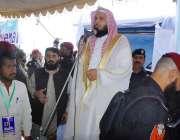 نوشہرہ: امام کعبہ الشیخ صالح بن محمد ابراہیم جے یو آئی کے صد سالہ اجتماع ..