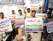 کراچی: کراچی پریس کلب کے سامنے اسپیشل سوشل ویلفیئر آرگنائزیشن کے معذور ..