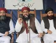 کراچی: کراچی پریس کلب میں سنی تحریک کے سربراہ ثروت اعجاز قادری پریس ..
