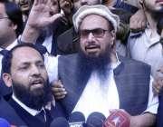 لاہور: پروفیسر حافظ محمد سعید ریویو بورڈ ہائیکورٹ میں سماعت کے بعد ..