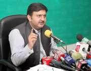 لاہور: ترجمان پنجاب حکومت ملک محمد احمد خان پریس کانفرنس سے خطاب کر ..